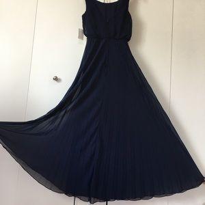 B Darlin Navy Blue Pleated sleeveless Maxi dress